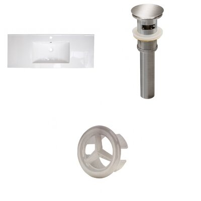 Roxy Ceramic 48 Single Bathroom Vanity Top Faucet Mount: Single, Drain Color: Brushed Nickel
