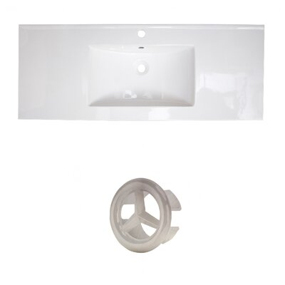 Flair Ceramic 49 Single Bathroom Vanity Top Faucet Mount: Single, Overflow Cap Color: Brushed Nickel