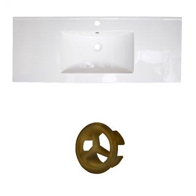 Flair Ceramic 49 Single Bathroom Vanity Top Faucet Mount: Single, Overflow Cap Color: Antique Brass