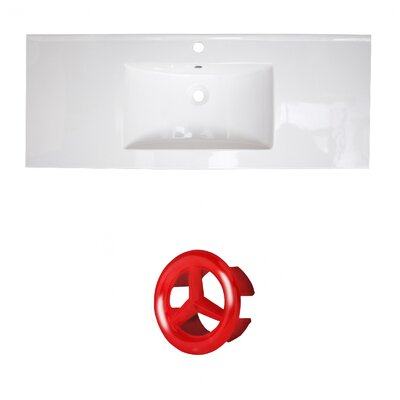 Flair Ceramic 49 Single Bathroom Vanity Top Faucet Mount: Single, Overflow Cap Color: Red