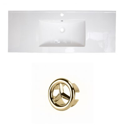 Flair Ceramic 49 Single Bathroom Vanity Top Faucet Mount: Single, Overflow Cap Color: Gold