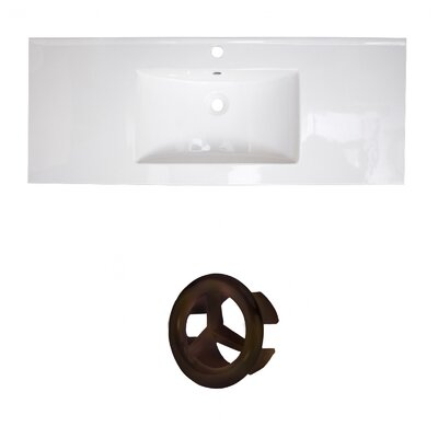 Flair Ceramic 49 Single Bathroom Vanity Top Faucet Mount: Single, Overflow Cap Color: Oil Rubbed Bronze