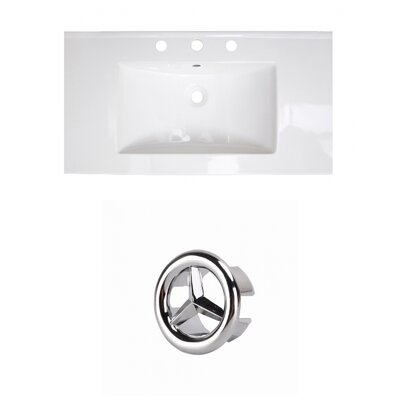 37 Single Bathroom Vanity Top Faucet Mount: 8 Centers, Drain Color: Chrome