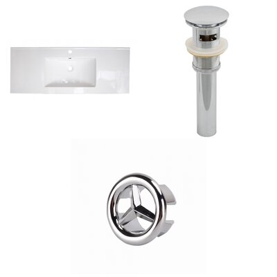 Roxy Ceramic 48 Single Bathroom Vanity Top Faucet Mount: Single, Drain Color: Chrome