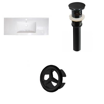 Roxy Ceramic 48 Single Bathroom Vanity Top Faucet Mount: Single, Drain Color: Black