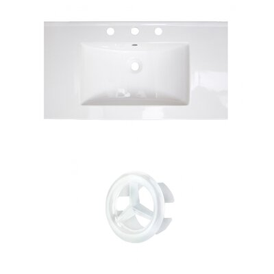 37 Single Bathroom Vanity Top Faucet Mount: 8 Centers, Drain Color: White