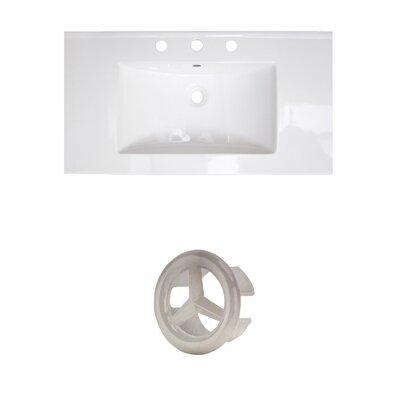 37 Single Bathroom Vanity Top Faucet Mount: 8 Centers, Drain Color: Brushed Nickel