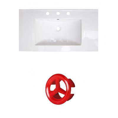 37 Single Bathroom Vanity Top Faucet Mount: 8 Centers, Drain Color: Red