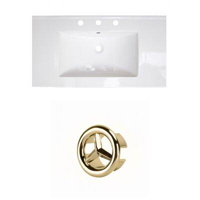 37 Single Bathroom Vanity Top Faucet Mount: 4 Centers, Drain Color: Gold