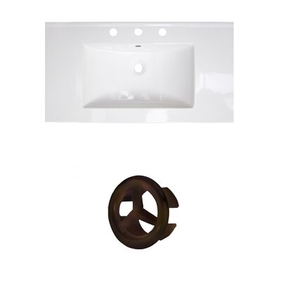 37 Single Bathroom Vanity Top Faucet Mount: 8 Centers, Drain Color: Oil Rubbed Bronze