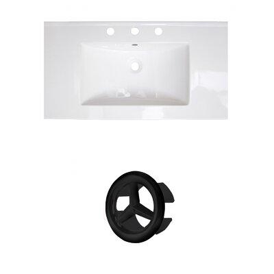 37 Single Bathroom Vanity Top Faucet Mount: 4 Centers, Drain Color: Black