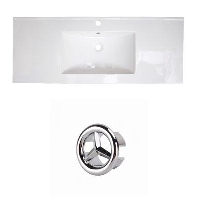 Flair Ceramic 49 Single Bathroom Vanity Top Faucet Mount: Single, Overflow Cap Color: Chrome