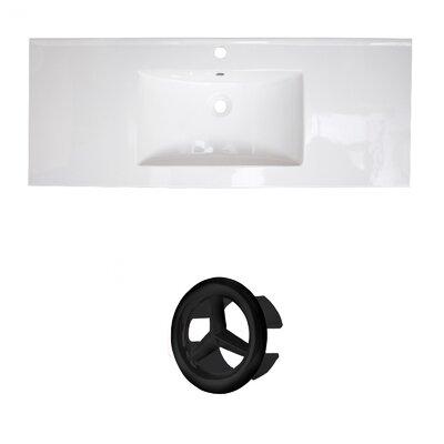 Flair Ceramic 49 Single Bathroom Vanity Top Faucet Mount: Single, Overflow Cap Color: Black