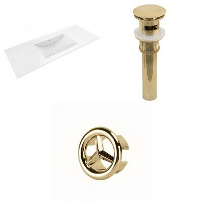 Alum Ceramic 48 Single Bathroom Vanity Top Faucet Mount: 8 Centers, Drain Color: Gold