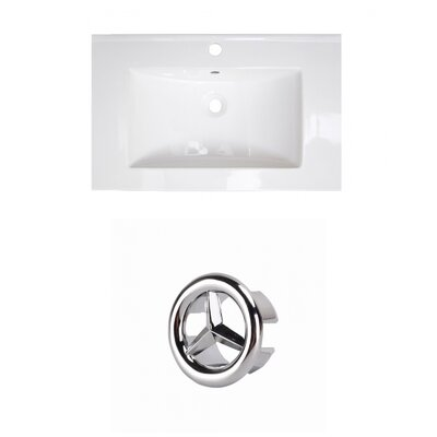 Roxy Ceramic 24 Single Bathroom Vanity Top Faucet Mount: Single, Overflow Cap Color: Chrome