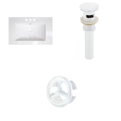 Roxy Ceramic 24 Single Bathroom Vanity Top Faucet Mount: 4 Centers, Overflow Cap Color: White