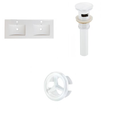 Xena Ceramic 48 Double Bathroom Vanity Top Faucet Mount: Single, Drain Color: White