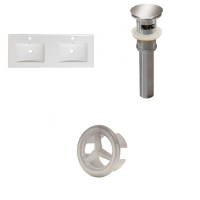 Xena Ceramic 48 Double Bathroom Vanity Top Faucet Mount: Single, Drain Color: Brushed Nickel