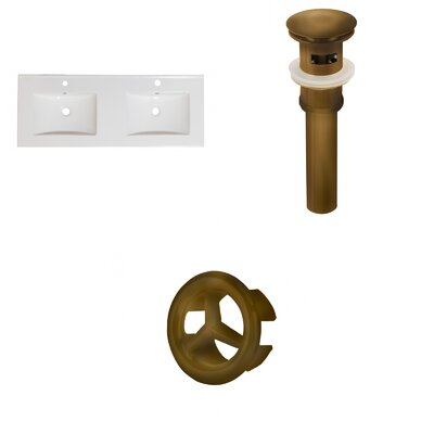 Xena Ceramic 48 Double Bathroom Vanity Top Faucet Mount: Single, Drain Color: Antique Brass