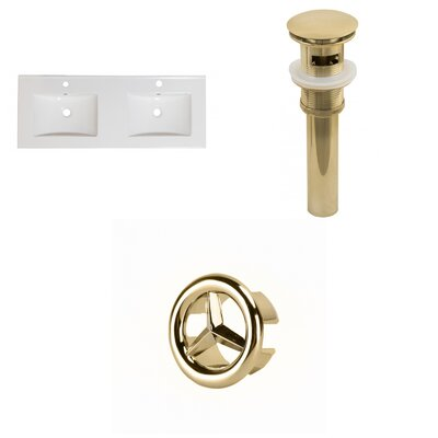 Xena Ceramic 48 Double Bathroom Vanity Top Faucet Mount: Single, Drain Color: Gold