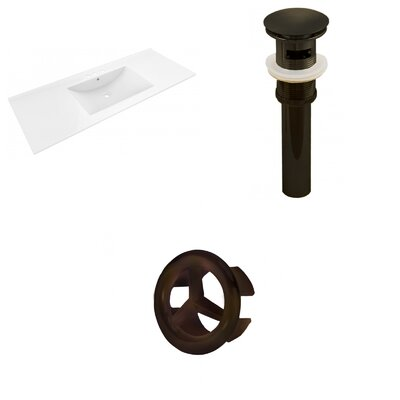 Alum Ceramic 48 Single Bathroom Vanity Top Faucet Mount: 4 Centers, Drain Color: Oil Rubbed Bronze