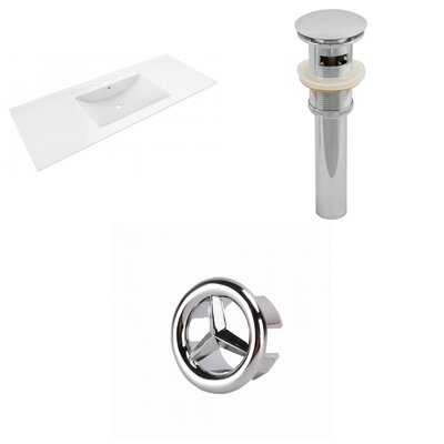 Alum Ceramic 48 Single Bathroom Vanity Top Faucet Mount: 8 Centers, Drain Color: Chrome
