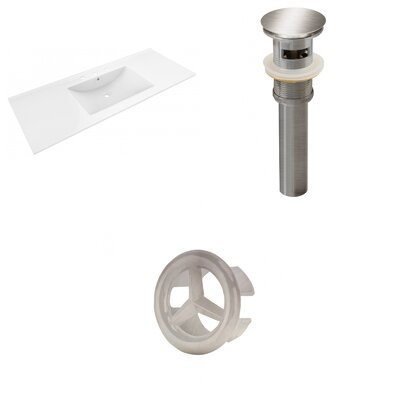 Alum Ceramic 48 Single Bathroom Vanity Top Faucet Mount: 8 Centers, Drain Color: Brushed Nickel