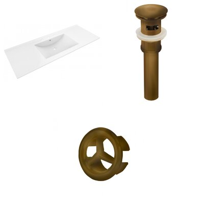 Alum Ceramic 48 Single Bathroom Vanity Top Faucet Mount: 8 Centers, Drain Color: Antique Brass