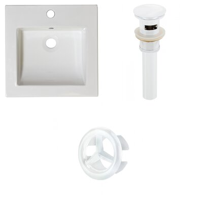 Ceramic 22 Single Bathroom Vanity Top Faucet Mount: Single, Drain Color: White