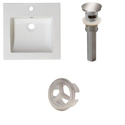 Ceramic 22 Single Bathroom Vanity Top Faucet Mount: Single, Drain Color: Brushed Nickel