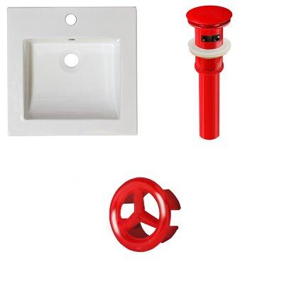 Ceramic 22 Single Bathroom Vanity Top Faucet Mount: Single, Drain Color: Red