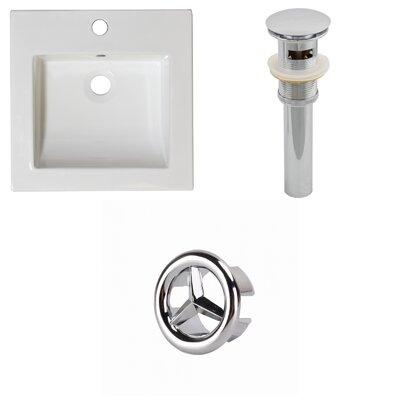 Ceramic 22 Single Bathroom Vanity Top Faucet Mount: Single, Drain Color: Chrome