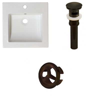 Ceramic 22 Single Bathroom Vanity Top Faucet Mount: Single, Drain Color: Oil Rubbed Bronze