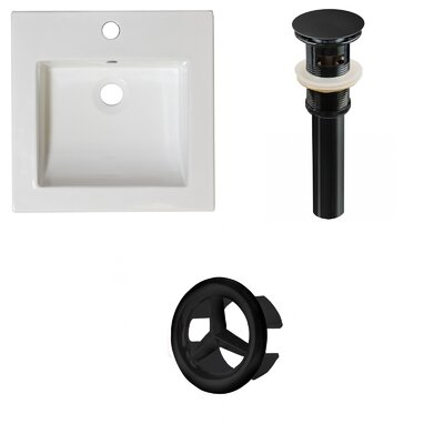 Ceramic 22 Single Bathroom Vanity Top Faucet Mount: Single, Drain Color: Black