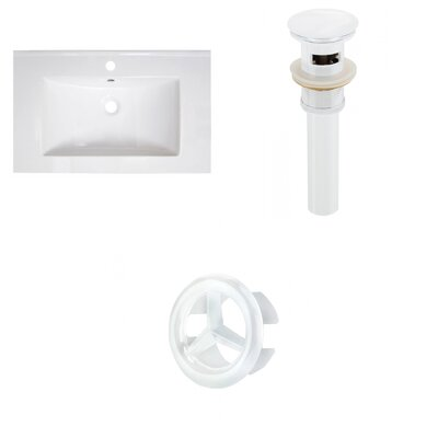 30 Single Bathroom Vanity Top Faucet Mount: Single, Overflow Cap Color: White