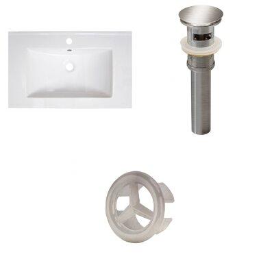 30 Single Bathroom Vanity Top Faucet Mount: Single, Overflow Cap Color: Brushed Nickel