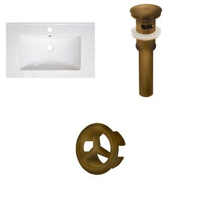 30 Single Bathroom Vanity Top Faucet Mount: Single, Overflow Cap Color: Antique Brass