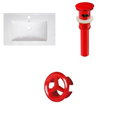 30 Single Bathroom Vanity Top Faucet Mount: Single, Overflow Cap Color: Red