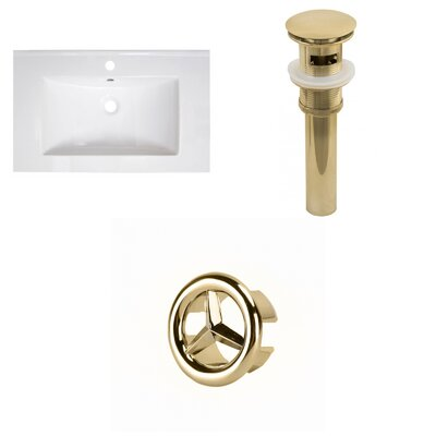 30 Single Bathroom Vanity Top Faucet Mount: Single, Overflow Cap Color: Gold