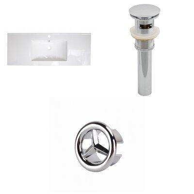 Ceramic 40 Single Bathroom Vanity Top Faucet Mount: Single, Overflow Cap Color: Chrome