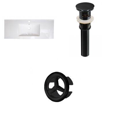 Ceramic 40 Single Bathroom Vanity Top Faucet Mount: Single, Overflow Cap Color: Black