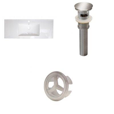 Ceramic 40 Single Bathroom Vanity Top Faucet Mount: Single, Overflow Cap Color: Brushed Nickel