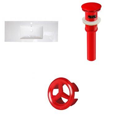 Ceramic 40 Single Bathroom Vanity Top Faucet Mount: Single, Overflow Cap Color: Red