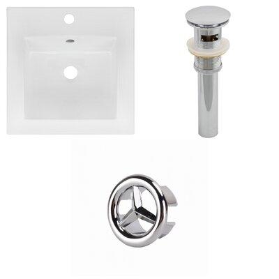 Ceramic 17 Single Bathroom Vanity Top Faucet Mount: Single, Drain Color: Chrome