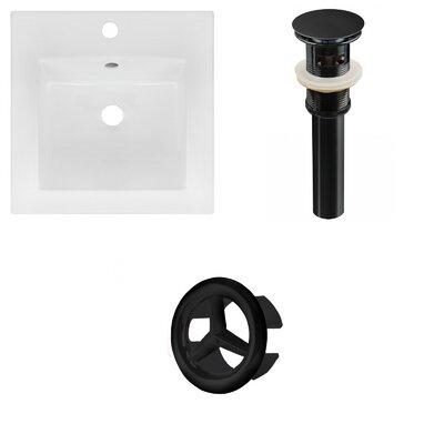 Ceramic 17 Single Bathroom Vanity Top Faucet Mount: Single, Drain Color: Black