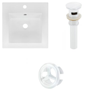 Ceramic 17 Single Bathroom Vanity Top Faucet Mount: Single, Drain Color: White