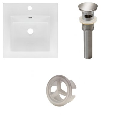 Xena Ceramic 59 Double Bathroom Vanity Top Faucet Mount: 8 Centers, Drain Color: Brushed Nickel