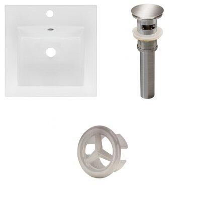 Xena Ceramic 59 Double Bathroom Vanity Top Faucet Mount: Single, Drain Color: Brushed Nickel