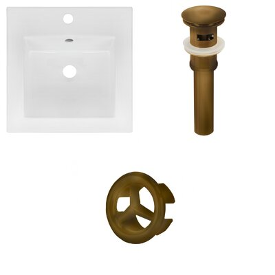 Xena Ceramic 59 Double Bathroom Vanity Top Faucet Mount: 8 Centers, Drain Color: Antique Brass
