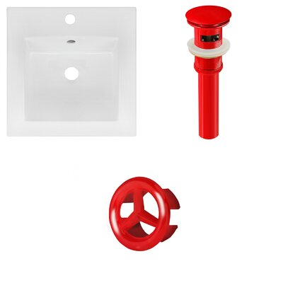 Ceramic 17 Single Bathroom Vanity Top Faucet Mount: Single, Drain Color: Red